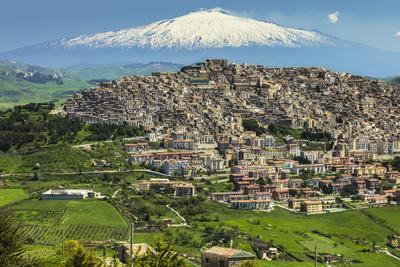 Hill Town with Backdrop of Snowy Volcano Mount Etna, Gangi, Palermo Province