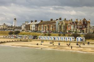 Seafront of Attractive Town with Lighthouse, Beach Huts, Southwold, Suffolk, England, UK by Rob Francis