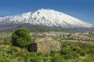 The 3350M Snow-Capped Volcano Mount Etna, Looms over the Maletto Town on its Western Flank, Maletto by Rob Francis