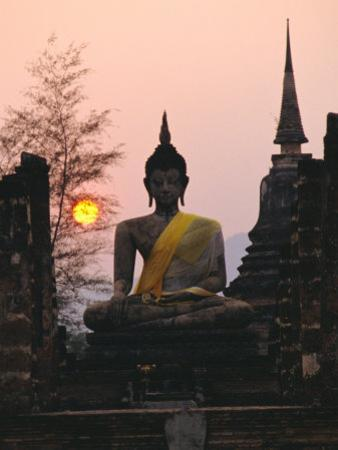 Seated Buddha Statue, Wat Mahathat, Sukhothai, Thailand by Rob Mcleod
