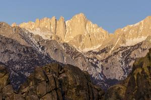 Mt. Whitney at Dawn with Rocks of Alabama Hills, Lone Pine, California by Rob Sheppard