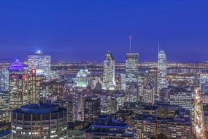 Canada, Quebec, Montreal, Skyline at Twilight by Rob Tilley