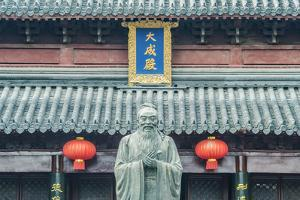 China, Jiangsu, Nanjing. Confucius Temple. This is the largest statue of Confucius in China. by Rob Tilley