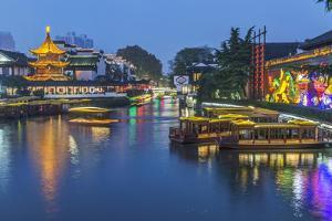 China, Jiangsu, Nanjing. Qinhuai River at twilight. by Rob Tilley