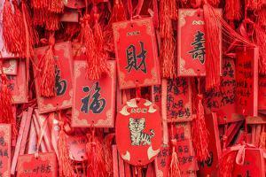 China, Jiansu, Nanjing. Confucius Temple (Fuzimiao), prayer plaques. by Rob Tilley
