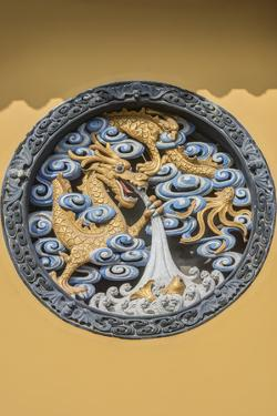 China, Shanghai. Jade Buddha Temple dragon bas-relief. by Rob Tilley