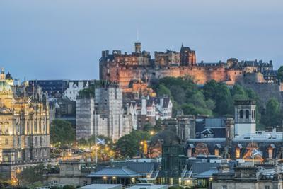 Europe, Great Britain, Scotland, Edinburgh. Edinburgh Castle From Calton Hill at Dusk by Rob Tilley