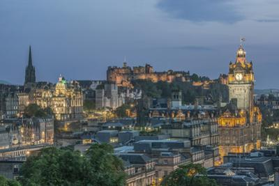 Europe, Great Britain, Scotland, Edinburgh. Looking down on the City From Calton Hill at Dusk by Rob Tilley