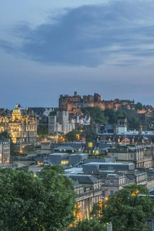 Great Britain, Scotland, Edinburgh. Edinburgh Castle from Calton Hill at dusk by Rob Tilley