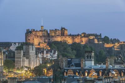 Great Britain, Scotland, Edinburgh. Edinburgh Castle from Carlton Hill at dusk by Rob Tilley