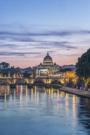 Italy, Rome, Tiber River Sunset