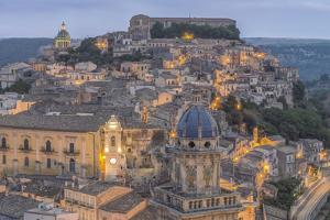 Italy, Sicily, Ragusa, Looking down on Ragusa Ibla at Dusk by Rob Tilley