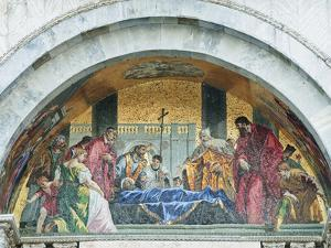 Mosaic Above the Entrance to St. Mark's Basilica Depicts St. Mark's Funeral, Venice, Italy by Rob Tilley