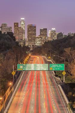 USA, California, Los Angeles 110 Freeway and Downtown by Rob Tilley
