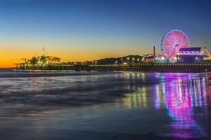 USA, California, Los Angeles, Santa Monica Pier Twilight by Rob Tilley