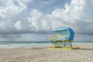 USA, Florida, Miami Beach. Colorful lifeguard station. by Rob Tilley