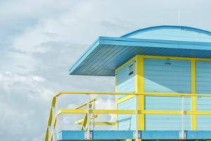 USA, Florida, Miami Beach. Colorful lifeguard station. by Rob Tilley