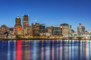 USA, Oregon, Portland, Downtown Skyline at Twilight by Rob Tilley