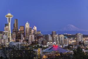 USA, Washington State, Seattle, Downtown and Mt. Rainier at Twilight by Rob Tilley