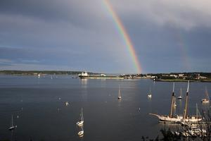 A Double Rainbow Falls over South Portland, Maine on a Summer Day by Robbie George