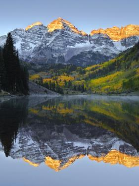 The Maroon Bells in Autumn by Robbie George