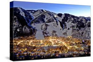 The Mountain Town of Aspen, Colorado, at Dusk in the Winter by Robbie George