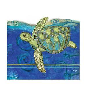 Coastal-Sea Turtle-Swirly Ocean by Robbin Rawlings