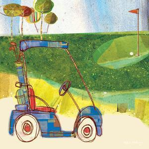 Golf Cart in Blue by Robbin Rawlings