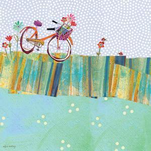 Polka Dot Delight - Tangerine Bicycle by Robbin Rawlings