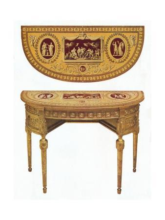 'One of a pair of Adam side-tables, the top painted in the manner of Pergolesi', 18th century