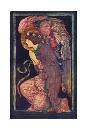'An Angel Adoring`, a coloured plaster relief by Robert Anning Bell', c1901 (1901-1902)