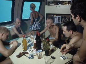 The Cousteaus and their Crew Relax in a Submersible after Work by Robert B. Goodman