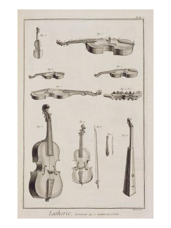 Instruments Played with a Bow, from the Encyclopedia of Denis Diderot
