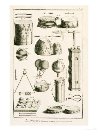 Plate II: Ancient and Modern Percussion Instruments from the Encyclopedia of Denis Diderot