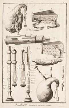Plate Vi: Wind Instruments from the Encyclopedia of Denis Diderot by Robert Benard