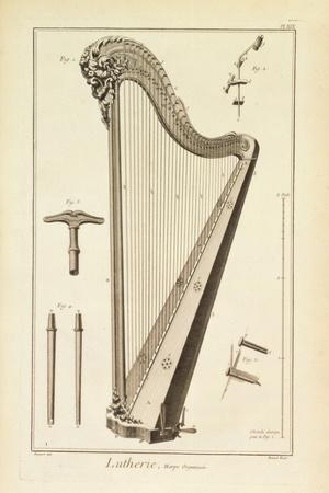 Plate XIX- a Harp from the Encyclopedia of Denis Diderot and Jean Le Rond D'Alembert, 1751-72