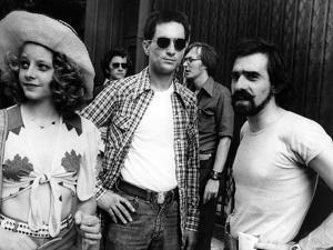 Robert by Niro, Jodie Foster and le realisateur Martin Scorsese sur le tournage du film Taxi Driver