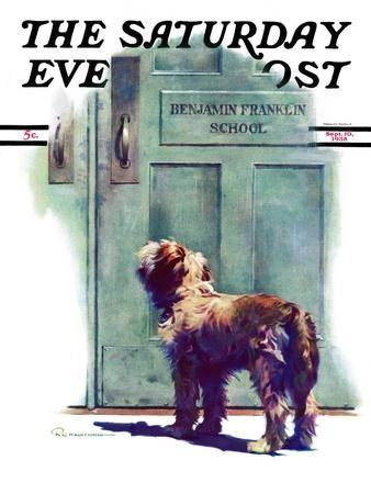 """""""Dog Waiting for Schoolboy,"""" Saturday Evening Post Cover, September 10, 1938"""