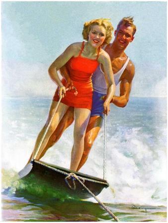 """Ski Boarding Couple,""June 27, 1936"