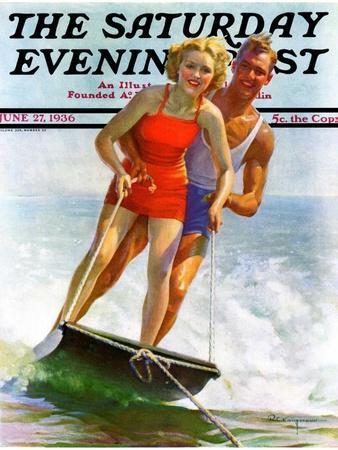 """""""Ski Boarding Couple,"""" Saturday Evening Post Cover, June 27, 1936"""