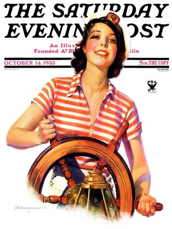 """""""Woman Takes the Wheel,"""" Saturday Evening Post Cover, October 14, 1933"""