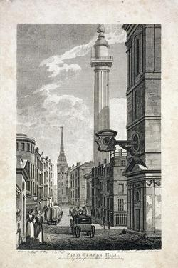 Fish Street Hill and the Monument, London, 1817 by Robert Cabbel Roffe