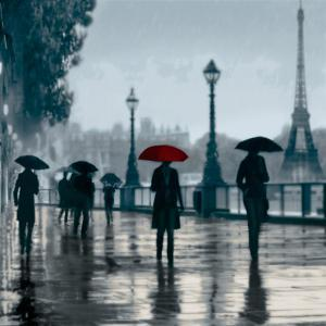 Paris Red Umbrella by Robert Canady