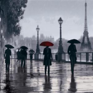 Paris Red Umbrella by Robert Canady