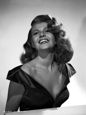 Rita Hayworth Portrait in Black Dress laughing by Robert Coburn