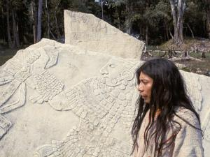 Lacandon Indian from Bonampak in Front of Mayan Stele, Mexico, North America by Robert Cundy