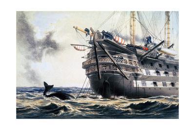 HMS 'Agamemnon' laying the original Atlantic telegraph cable, 1857 (1866)