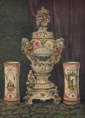 'Vase of Dresden Porcelain and Pair of Porcelain Beakers', 1863 by Robert Dudley