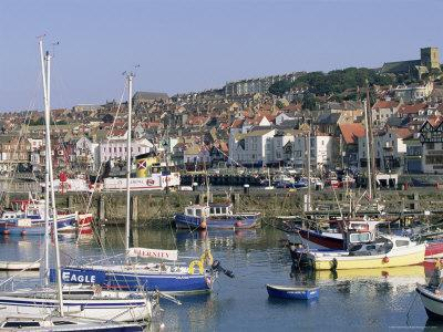 Boats in Harbour and Seafront, Scarborough, Yorkshire, England, United Kingdom