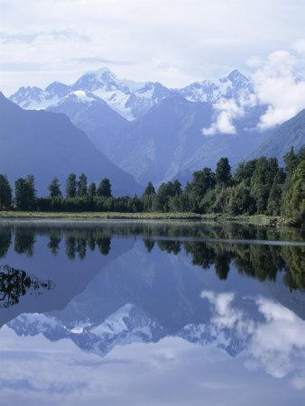 Mountains of the Southern Alps Reflected in Lake Matheson, Canterbury, South Island, New Zealand